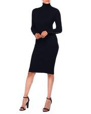 Women - Rib L/S Turtle Neck Dress W/Horn Button Slv-2420037
