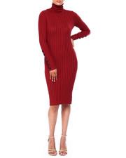 Dresses - Rib L/S Turtle Neck Dress W/Horn Button Slv-2420046