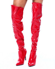 Fashion Lab - Patent Thigh High Boots W/ Heel-2416093