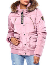 Outerwear - BB Faux Fur Trim Hood Rib Bottom Short Bomber Puffer-2420321