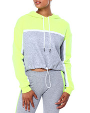 CAMP - Colorblock Crop Hoodie W/Drawstring Waistband-2419644