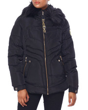 Outerwear - BB Faux Fur Trim Hood Short Puffer-2420269