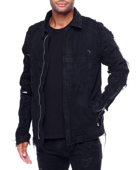 Cote De Nuits - Jewel Script Denim Jacket w Moto Leather Detail