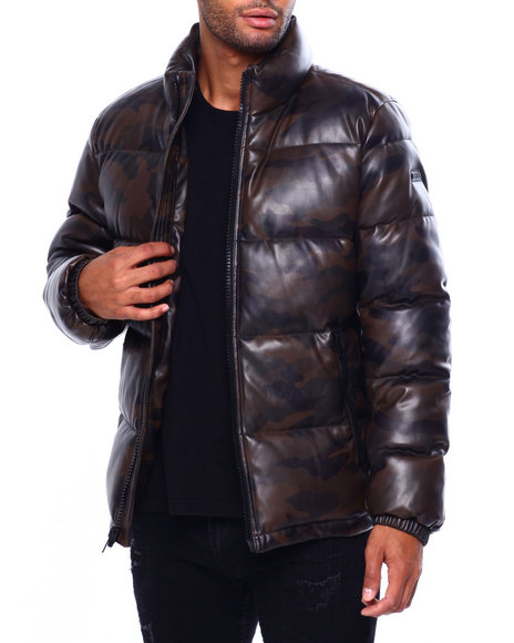 DKNY - Faux Leather Quilted Puffer Coat