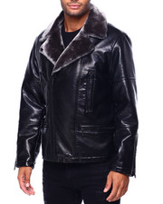 Mens-Fall - Faux Shearling Zipup Jacket-2420717