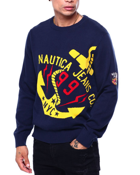 Nautica - INTARSIA TILTED ANCHOR SWEATER