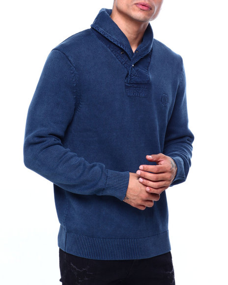 Nautica - ENZYME WASH SNAP SHAWL SWEATER