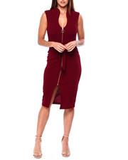 Women - Drop Shoulder Zip Front Midi Dress-2422035