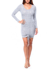 Almost Famous - L/S Bodycon Dress W/Front Ruching-2422005