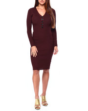 Almost Famous - Rib Vnk Henley Midi Dress W/ Horn Buttons-2421445