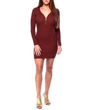 Women - L/S Rib Vnk Zipper Detail Dress-2422763