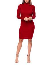 Women - L/S Mock Nk Rib Midi Dress-2422456