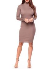 Women - L/S Mock Nk Rib Midi Dress-2422460