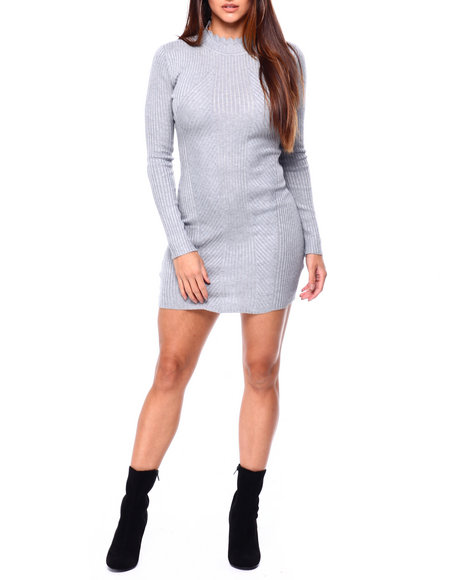 Almost Famous - Scallop Edge Mock Neck Ribbed Mini Dress
