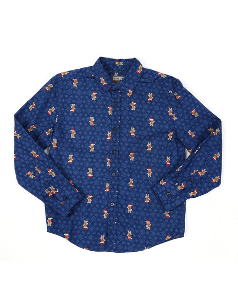 Arcade Styles - Holiday Long Sleeve Woven Shirt (8-20)