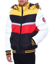 Heavy Coats - Colorblock Chevron Puffer Jacket-2422712