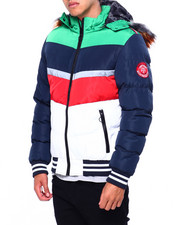 Heavy Coats - Colorblock Chevron Puffer Jacket-2422724