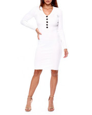 Almost Famous - Rib Vnk Henley Midi Dress W/ Horn Buttons-2422070