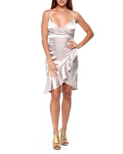 Almost Famous - Stretch Satin Cami Ruffle Wrap Dress-2422045
