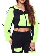 Athleisure for Women - Drawstring Detail Colorblock Zip Hoodie-2420779