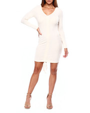Almost Famous - L/S Bodycon Dress W/Front Ruching-2422085