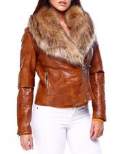 Womens-Winter - Faux Snake Skin Jacket W/Faux Fur Trim-2422515