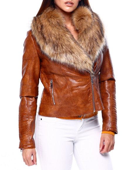 Fashion Lab - Faux Snake Skin Jacket W/Faux Fur Trim