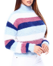 DEREK HEART - Feather Stripe Mock Nk Drop Shldr L/S Sweater-2420775