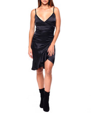 Almost Famous - Stretch Satin Cami Ruffle Wrap Dress-2422060