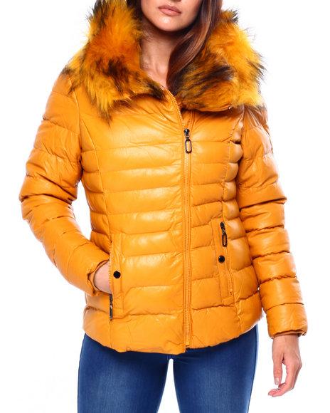 Fashion Lab - Asymmetric Zipper Puffer Jacket W/Faux Fur Collar