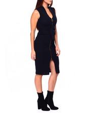 Dresses - Drop Shoulder Zip Front Midi Dress-2422020