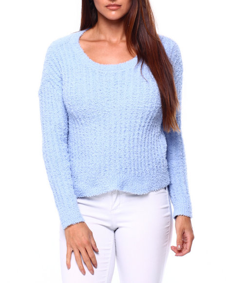 Almost Famous - Ribbed Teddy Yarn Crew Nk Drop Shoulder Sweater