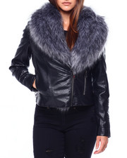 Womens-Winter - Faux Snake Skin Jacket W/Faux Fur Trim-2422509