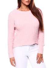 Almost Famous - Ribbed Teddy Yarn Crew Nk Drop Shoulder Sweater-2421435