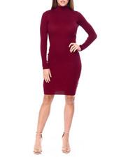 Women - L/S Mock Nk Rib Midi Dress-2422452