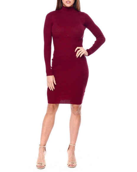 DEREK HEART - L/S Mock Nk Rib Midi Dress