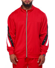 Big & Tall - 3D Flim Embossed Cut & Sew Track Jacket w/ Contrast Zipper Trim (B&T)-2423216
