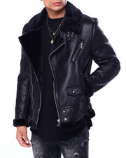 Heavy Coats - FAUX SHEARLING MOTO JACKET-2424744