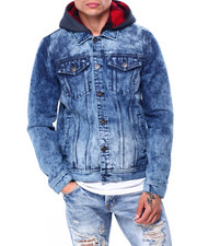 Denim Jackets - TONI FLEECE HOOD DENIM JACKET-2424289