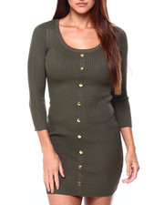DEREK HEART - Faux Snap Up Scoop Nk 3/4 Slv Rib Dress-2422482