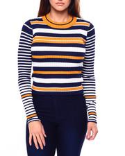 Tops - L/S Stripe Crop Crew Nk Pullover-2420763