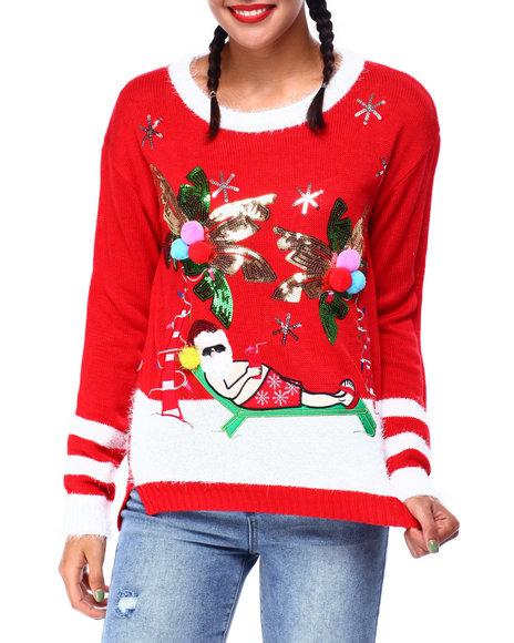 Fashion Lab - Palm Tree Santa L/S Sweater