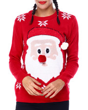 Ugly Christmas Shop - Santa Face L/S Sweater-2425367