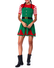 Ugly Christmas Shop - S/S Elf Sweater Dress W/Hat-2425343