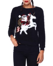 Ugly Christmas Shop - Santa Unicorn L/S Woobie Crew Neck-2425339
