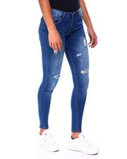 Women - Distressed Frt/Bk Skinny Roll Cuff Jean-2424779