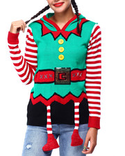 Ugly Christmas Shop - Elf Feet Hooded L/S Sweater-2425359