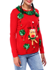 Ugly Christmas Shop - 3D Reindeer L/S Sweater-2425335