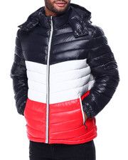 Heavy Coats - Colorblock Bubble Jacket w Hood-2425179