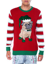 Ugly Christmas Shop - PUG W ELF HAT UGLY XMAS SWETER-2426575